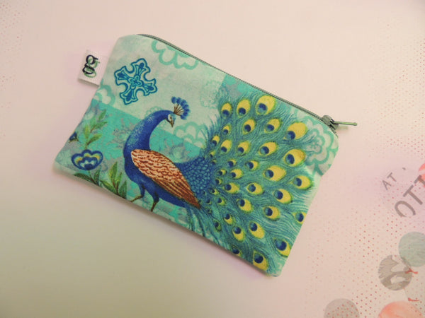 Padded Zippered Pouch purse Gadget Coin /accessory Case - Peacock green and blue print