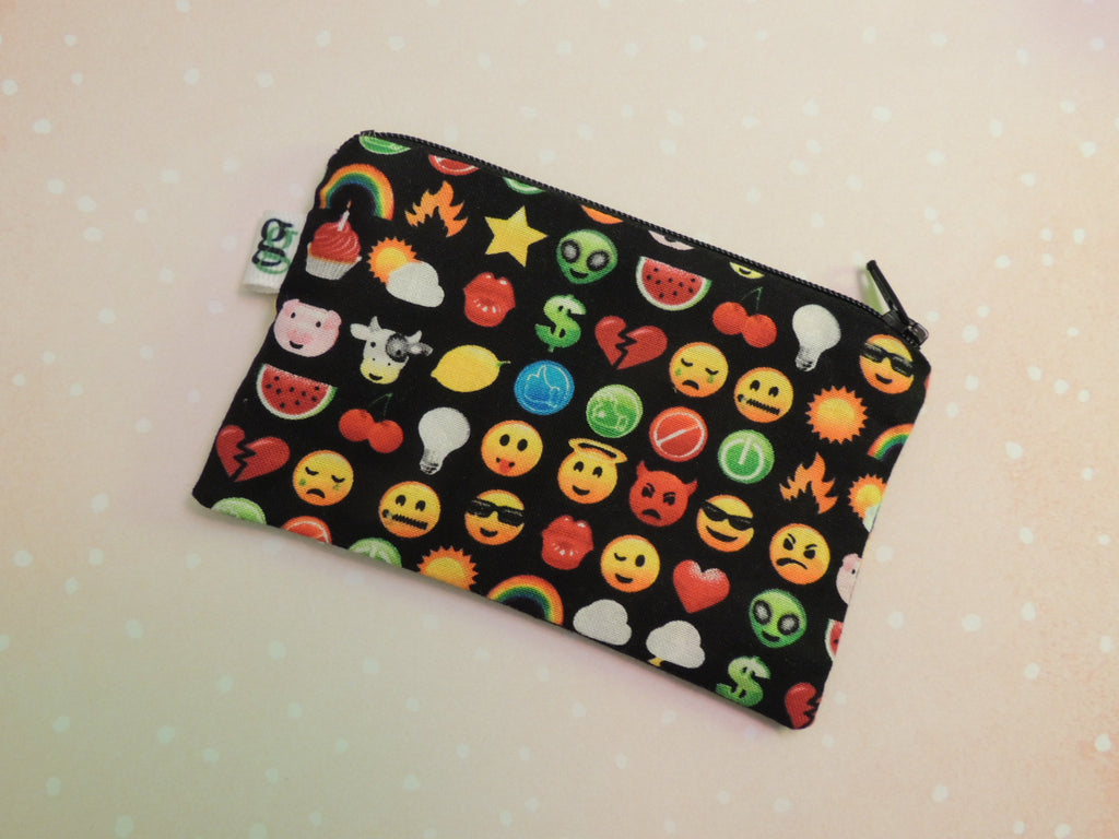 Padded Zippered Pouch purse Gadget Coin /accessory Case - Emoji Emoticons chat print - groovygurls