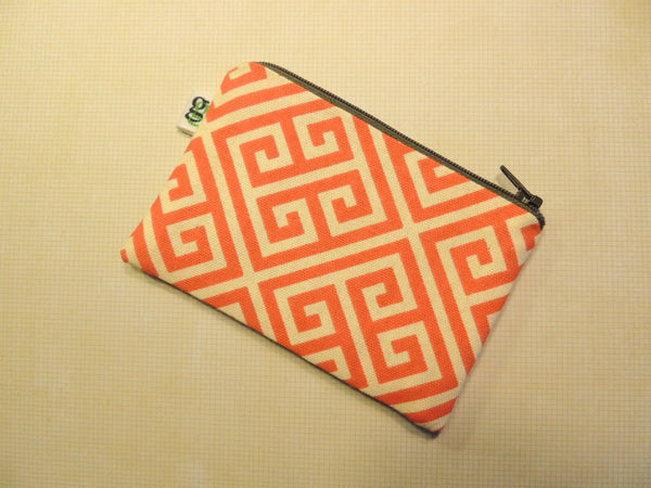 Padded Zippered Pouch purse Gadget Coin /accessory Case - Greek Key OPA print - groovygurls