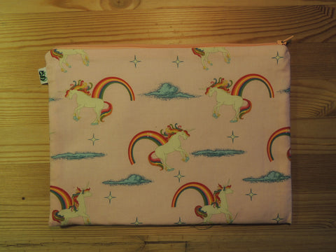 Ipad Handmade Travel Case Unicorns and Rainbows Print