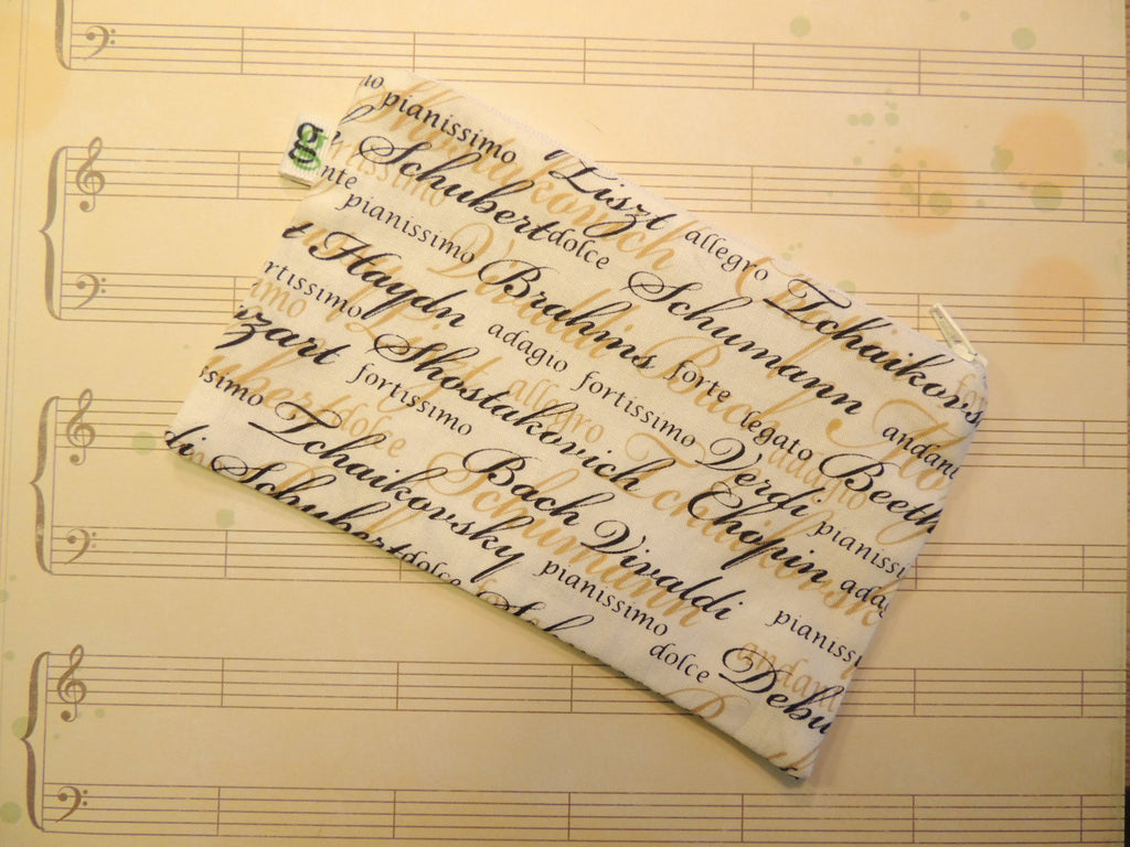 Reusable Zipper Snack Bag Composer Bach Beethovan Classical Music - groovygurls