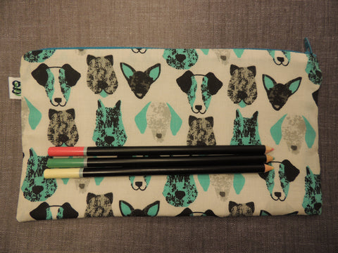 Dogs Print Zipper Pouch / Pencil Case / Make Up Bag / Gadget Sack Unique organizer - groovygurls
