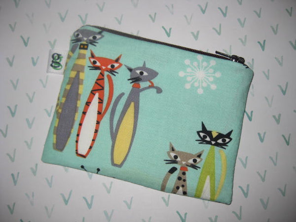 Padded Zip Pouch purse Gadget Coin Case - retro swanky cats print - groovygurls