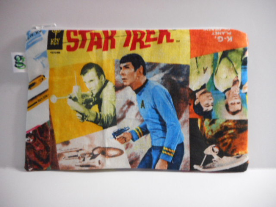 Reusable Zipper Snack / Gadget Bag Eco Friendly Star Trek Spock, Sulu and Captain Kirk Print