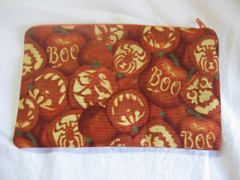Reusable Zipper Snack / Gadget Bag Eco Friendly Happy Halloween Jack O Lanterns Spiders, bats & witches Print