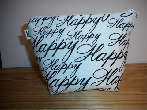 Fabric Zippered Pouch Clutch Bag Happy Happy Print