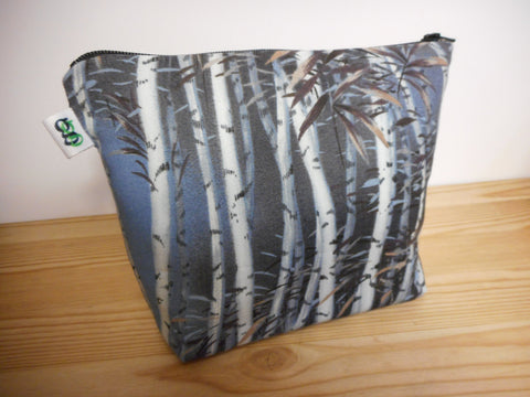 Fabric Zippered Pouch Clutch Bag Forest Print