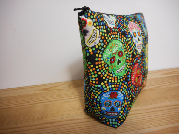 Fabric Zippered Pouch Clutch Bag Sugar Skulls Day of the dead Print - groovygurls