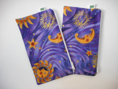 Reusable Zipper Snack Bags BPA Free Eco Friendly Set of 2 Sun, the moon and stars print