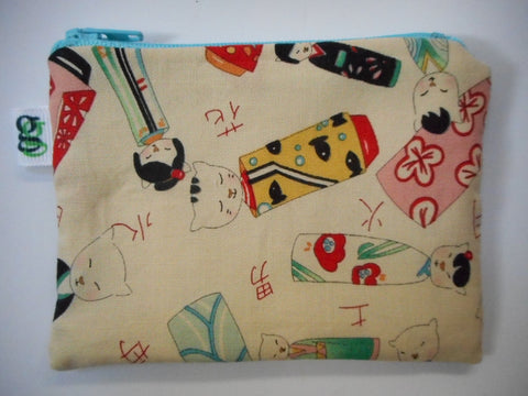 Padded Zip Pouch purse Gadget Coin Case - cream - Japanese Kokeshi cats neko Asian print - groovygurls