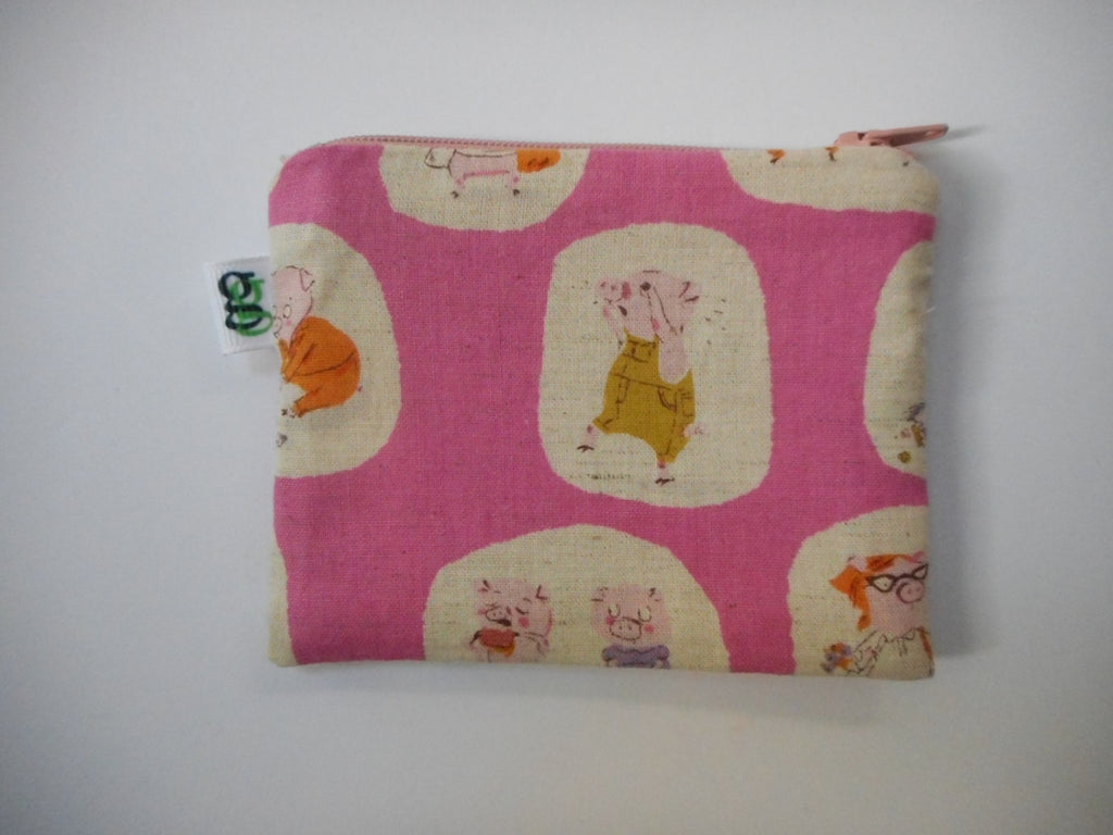 Padded Zip Pouch purse Gadget Coin Case - cream -Japanese Asian fabric three little pigs print