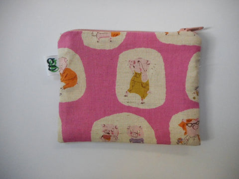Padded Zip Pouch purse Gadget Coin Case - cream -Japanese Asian fabric three little pigs print - groovygurls