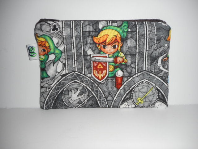 Padded Zip Pouch purse Gadget Coin Case - Legend of Zelda Lync print
