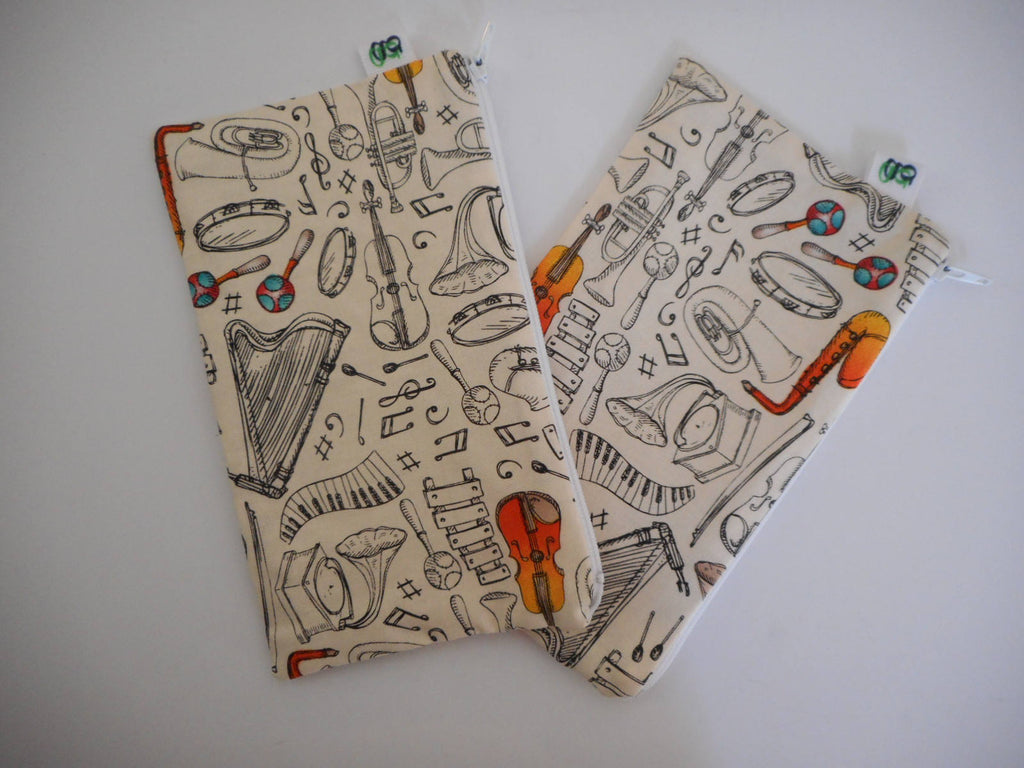 Reusable Zipper Snack Bags BPA Free Eco Friendly Set of 2 Music Piano Harp Violin Tuba Trumpet notes  print Teacher Gift - groovygurls