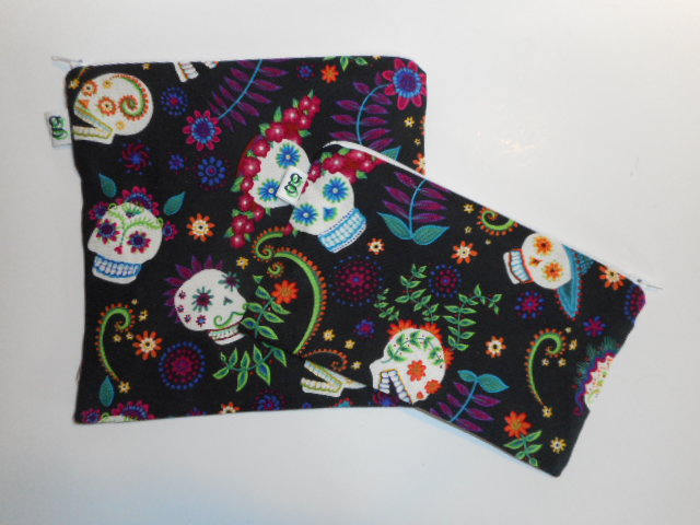 Reusable Zipper Sandwich & Snack Bags BPA Free Eco Friendly  Set of 2 Sugar Skulls Dia de los Muertos Day of the Dead sku 1031 - groovygurls