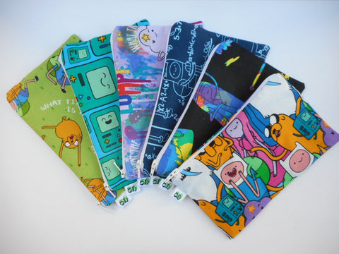 Reusable Zipper Snack Bag/gadget bag Eco Friendly Adventure Time Finn Jake BMO Lumpy Space Princess Bubblegum Ice King Various prints