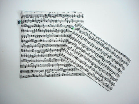 Reusable Zipper Sandwich & Snack Bags Eco Friendly Set of 2 Musical Instruments Symphony Sheet Music OperaPrint sku 1023 - groovygurls