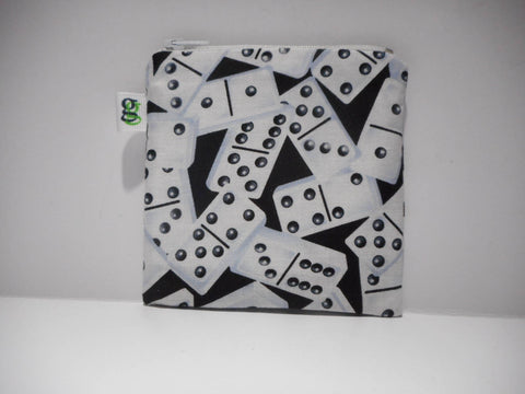 Padded Zip Pouch purse Gadget Coin Case - Domino Dominoes Game print