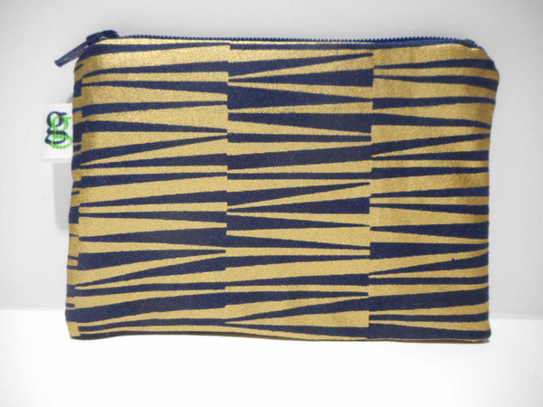 Padded Zip Pouch purse Gadget Coin Case - Midnight Blue and Gold print