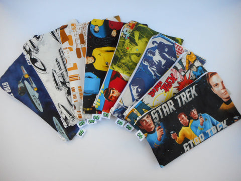 Reusable Zipper Snack Bag/gadget bag  Eco Friendly Original Star Trek Enterprise Spock, Sulu and Captain Kirk Various prints to choose from