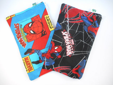 Reusable Zipper Snack Bag/gadget bag Eco Friendly Original Spider-man Spiderman prints