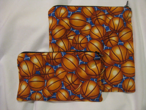 Reusable Zipper Sandwich & Snack Bags BPA Free Eco Friendly Set of 2 Basketball print