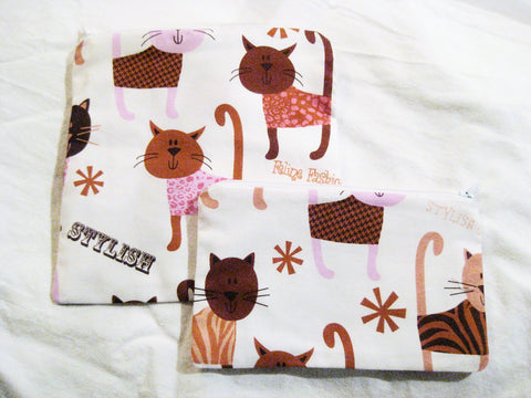 Reusable Zipper Sandwich & Snack Bags BPA FREE Eco Friendly Set of 2 Feline cat dressed up print sku 1026