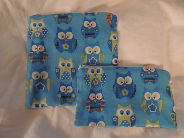 Reusable Zipper Sandwich & Snack Bags BPA Free Eco Friendly Set of 2 Blue Owls print sku 1012 - groovygurls