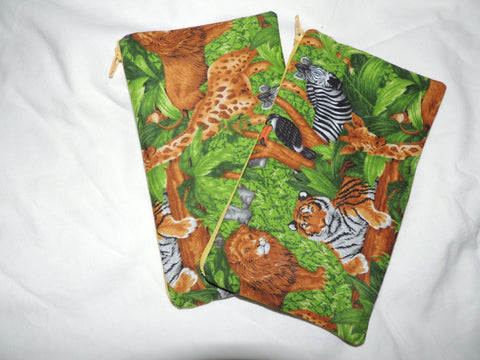 Reusable Zipper Snack Bags BPA Free Eco Friendly Set of 2 Jungle Animal Print