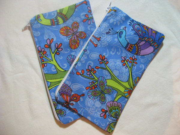 Reusable Zipper Snack Bags Eco Friendly Set of 2 Peacock Blue Print
