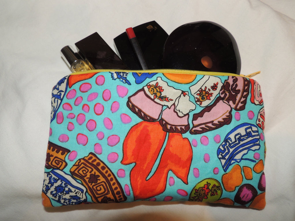 Padded Zipper Cosmetic / Gadget Bag Eco Friendly abstact Kaffe print - groovygurls