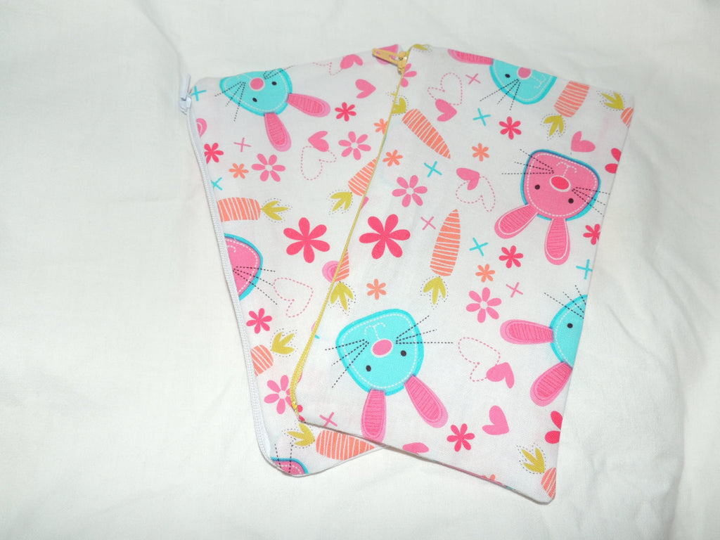 Reusable Zipper Snack Bags BPA Free Eco Friendly Set of 2 Pink Bunny Rabbit Easter Print - groovygurls