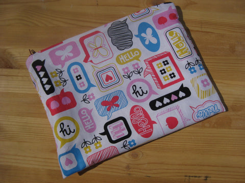 Hello Hi! Kawaii Print Ipad or Galaxy Handmade Travel Case - groovygurls