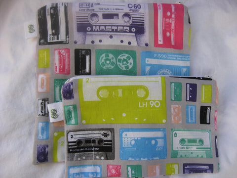 Reusable Zipper Sandwich & Snack Bags Eco Friendly Set of 2 Cassette Tapes Retro Party Music