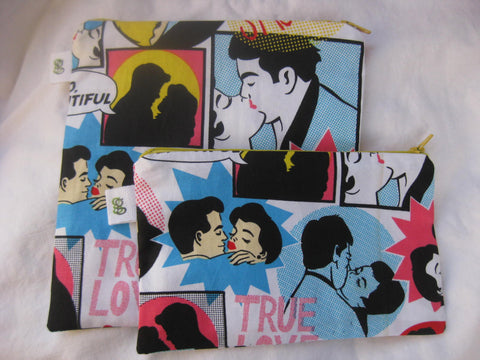 Reusable Zipper Sandwich & Snack Bags BPA Free Eco Friendly Set of 2 Retro True Love Comic - groovygurls