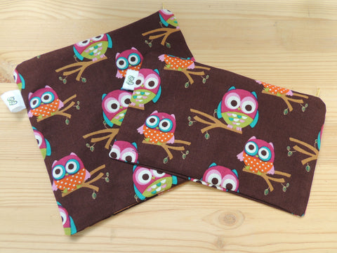 Reusable Zipper Sandwich & Snack Bags BPA Free Eco Friendly Set of 2 Brown Owl Print sku 1013 - groovygurls