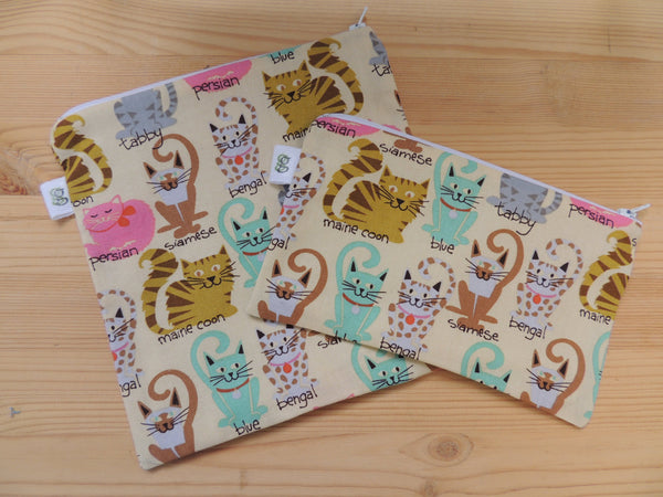 Reusable Zipper Sandwich & Snack Bags BPA Free Eco Friendly Cat lovers Set of 2 siamese tabby persian cat kitten print sku 1011