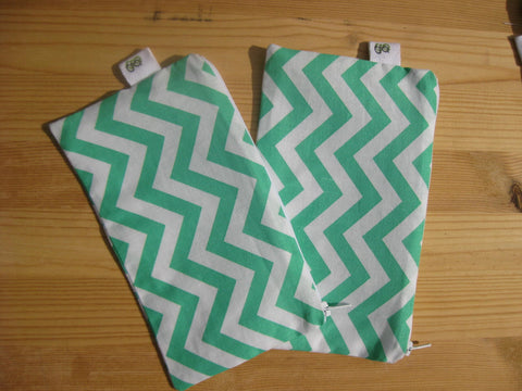 Reusable Zipper Snack Bags BPA Free Eco Friendly Set of 2 Green Chevron Print