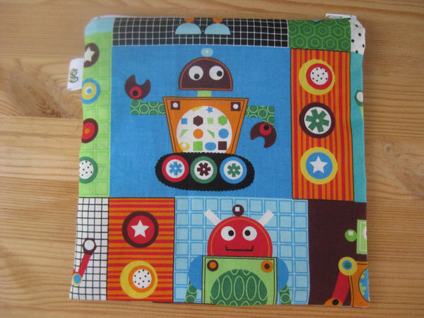 Reusable Zipper Sandwich & Snack Bags BPA Free Eco Friendly Set of 2 Robots Gears Geekery Geeks - groovygurls