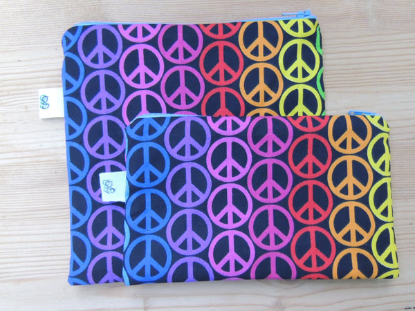 Reusable Zippered Sandwich & Snack Bags Eco Friendly Set of 2 Peace Sign Multicolored Rainbow print - groovygurls