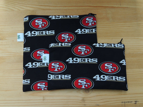 Set of 2 Reusable Zipper Sandwich & Snack Bags BPA Free Eco Friendly SF 49ers San Francisco  California Football NFL Print - groovygurls