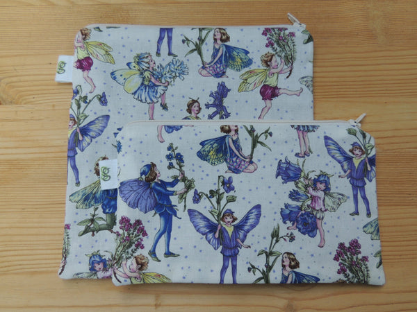 Reusable Zipper Sandwich & Snack Bags BPA Free Eco Friendly Set of 2 purple Girly Garden Fairies fairy print - groovygurls