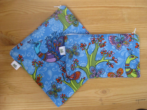 Reusable Zipper Sandwich & Snack Bags BPA Free Eco Friendly Set of 2 Peacock Blue Print