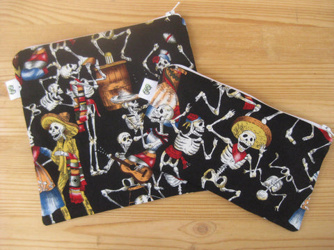Reusable Zipper Sandwich & Snack Bags BPA Free Eco Friendly  Set of 2 Dia de los Muertos Day of the Dead sku 1002 - groovygurls