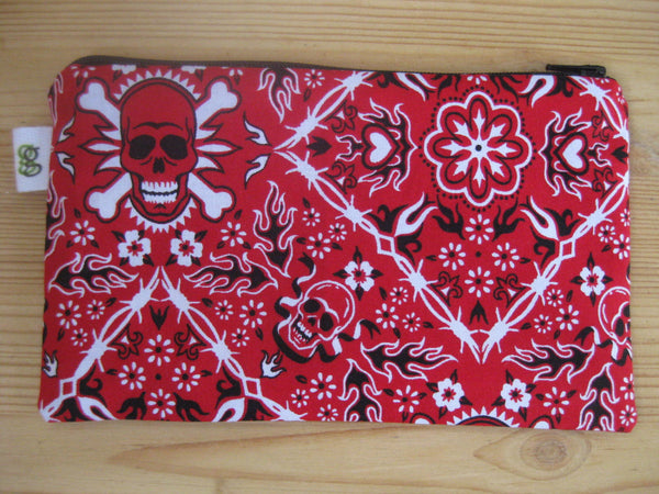 Reusable Zipper Sandwich & Snack Bags BPA Free Eco Friendly Set of 2 Red and Black skulls and crossbones - groovygurls