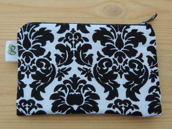 Zippered Coin Purse Wallet Organizer - black and white damask