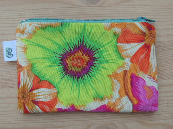Zippered Coin Purse Wallet Organizer - kaffe spring flowers print - groovygurls