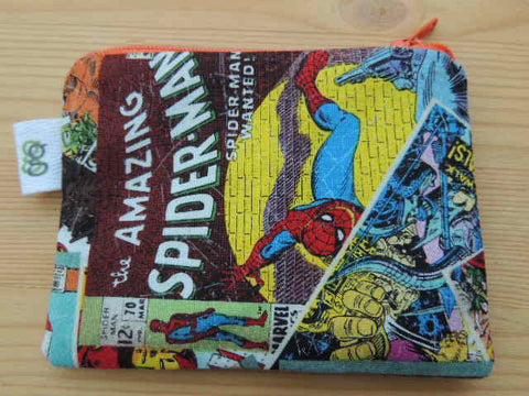 Padded Zip Pouch purse Gadget Coin Case - Amazing Spider man Spiderman Marvel Character print