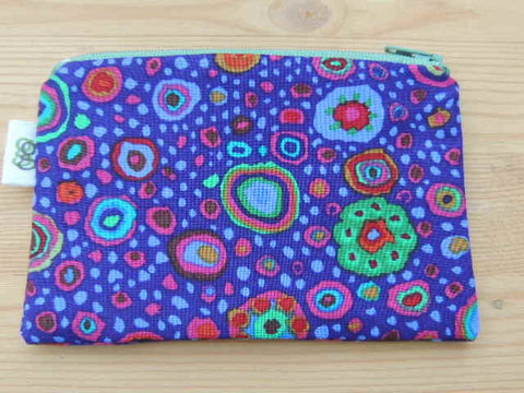 Zippered Coin Purse Wallet Organizer - kaffe geometric shape purple print