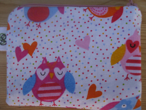 Padded Zip Pouch Gadget Coin  purse Case - Valentines Owls hearts love
